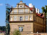 sgraffito design on the facade of the Smetana Museum