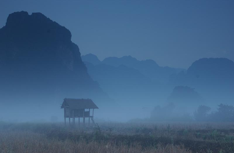 Morning mist over VangVieng, Laos