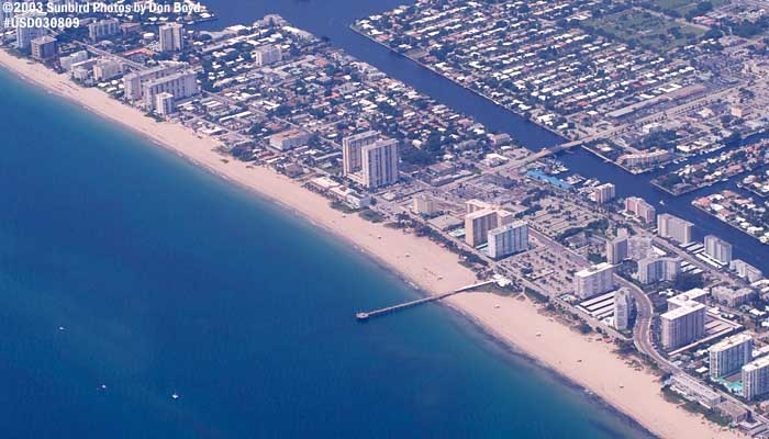 2003 - Pompano Beach and fishing pier landscape aerial stock photo #6058