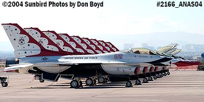 9 USAF Thunderbirds at the 2004 Aviation Nation Air Show stock photo #2166