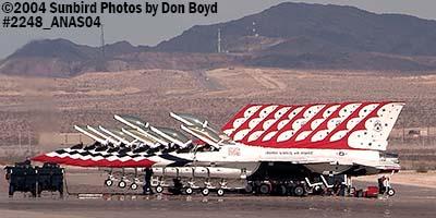 9 USAF Thunderbirds at the 2004 Aviation Nation Air Show stock photo #2248