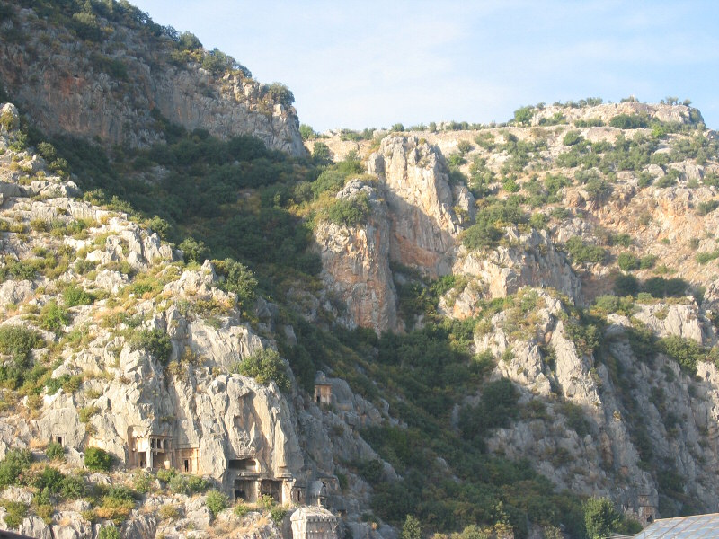 Stopping briefly at Myras rock tombs at almost<br>5pm and unable to get very close to them.