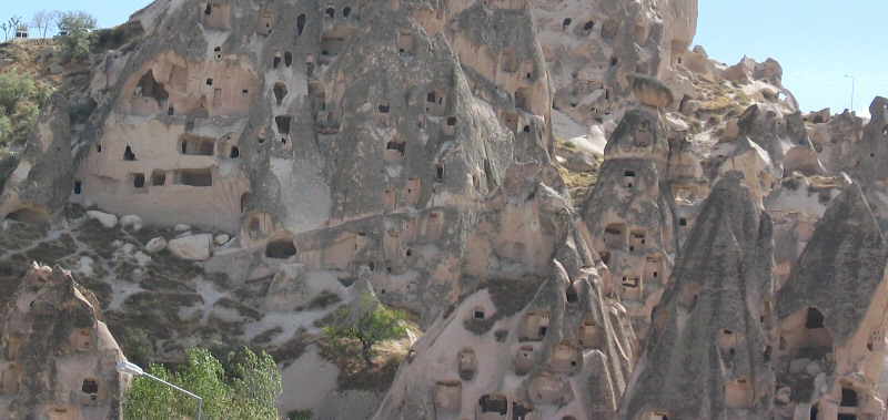 Close-up of the living spaces in the bottom of rock.