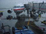 In Chicago, a rainy start