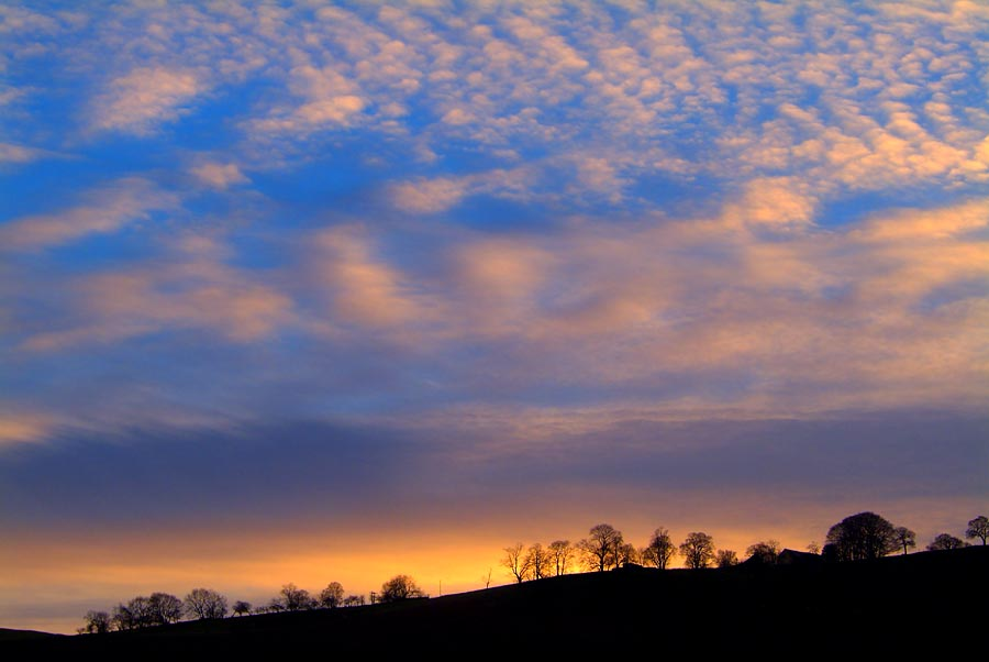 Winter sunset over Penrhiwcaradoc Farm, Mountain Ash