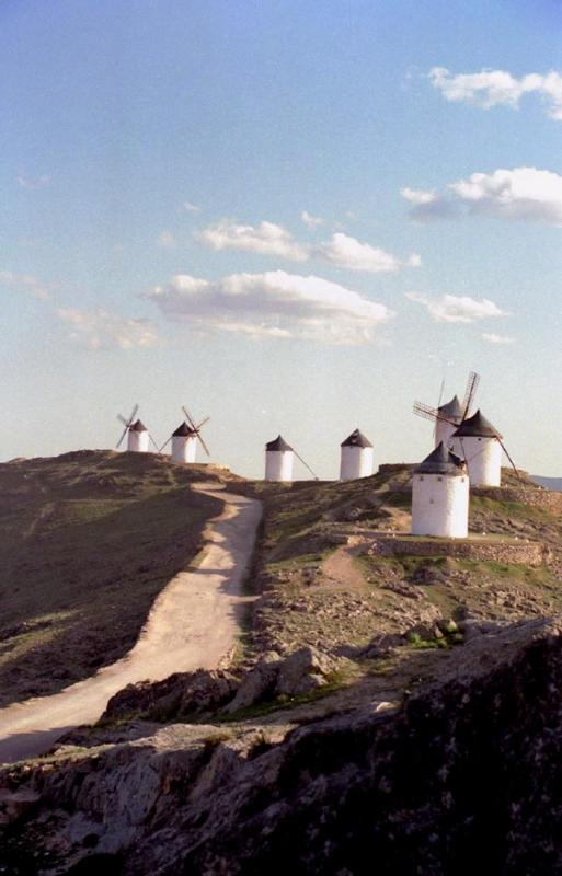 Windmills lined up at Consuegra