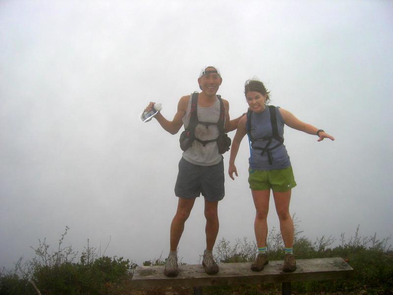 Summit 10 (T1) - Glenn & Deb, as the fog rolls in