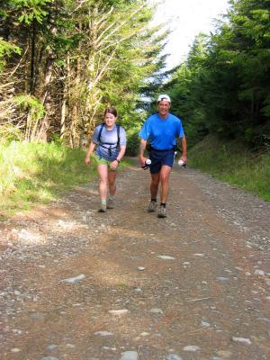 Deb & Tony climbing up to T1