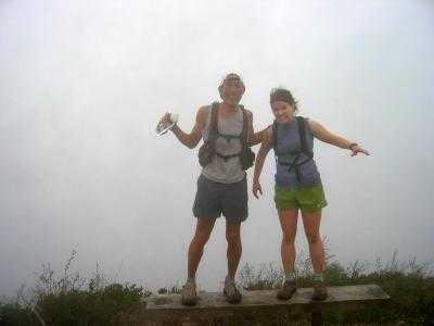 Summit 10 (T1) - Glenn & Deb, as the fog rolls in