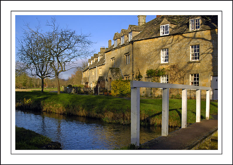 Footbridge and river, Lower Slaughter, Gloucestershire