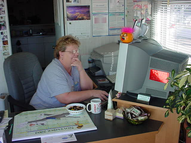 Phyllis in the office hard at work