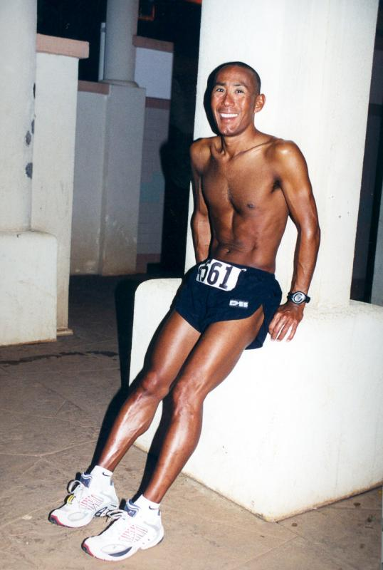 2000 - Before the start of the Honolulu Marathon