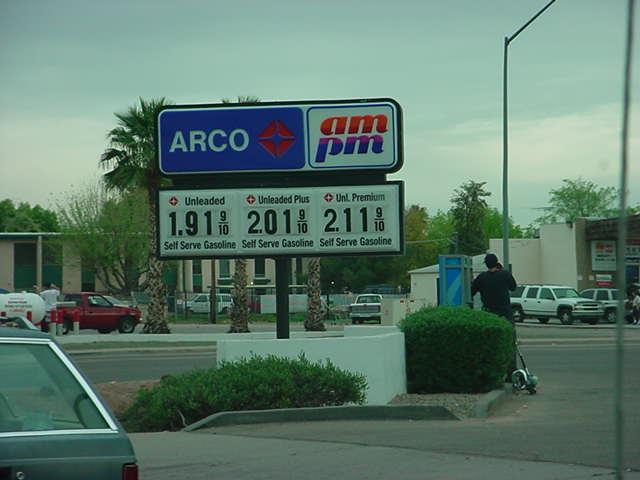 gas gasoline prices Arizona March 2003