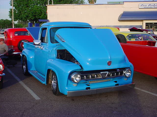blue Ford <br>pick up truck