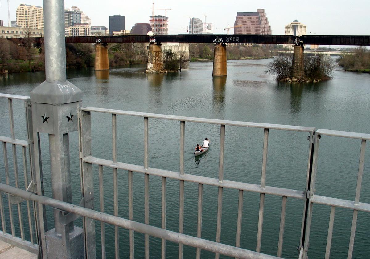 Foot bridge view towards the rail road bridge