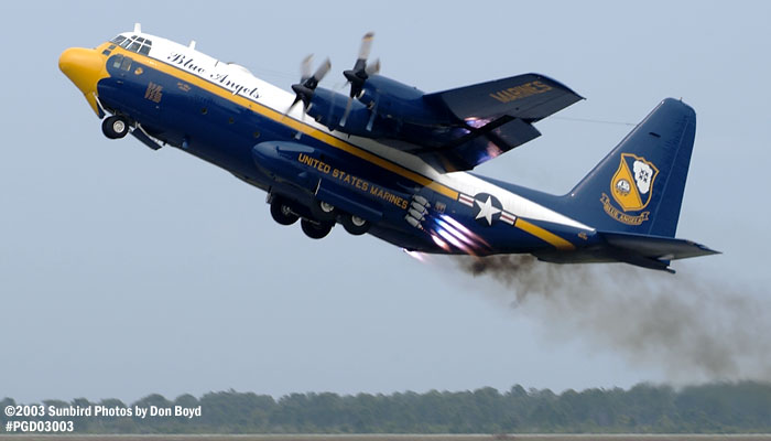 USMC Blue Angels C-130T Fat  Albert (New Bert) #164763 JATO takeoff military aviation air show stock photo #3547