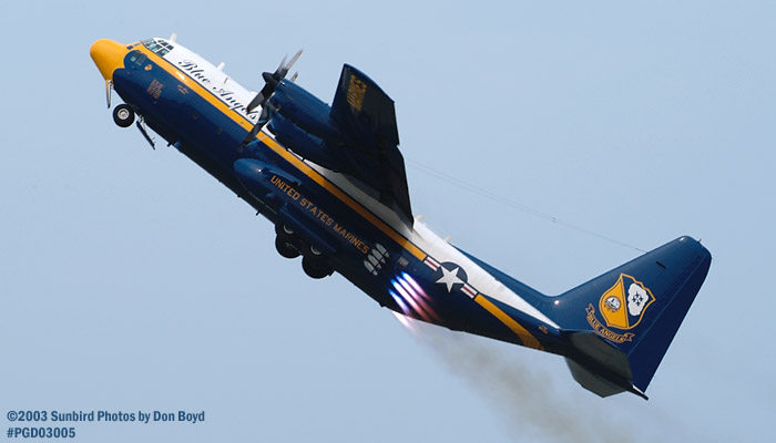 USMC Blue Angels Fat Albert (New Bert) C-130T #164763 JATO takeoff military aviation air show stock photo #3549