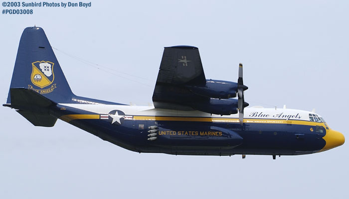 USMC Blue Angels Fat Albert (New Bert) C-130T #164763 high speed fly-by military aviation air show stock photo #3554
