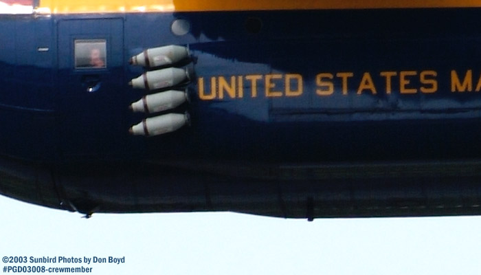 USMC Blue Angels Fat Albert (New Bert) C-130T #164763 crewmember in door window military aviation air show stock photo #3554
