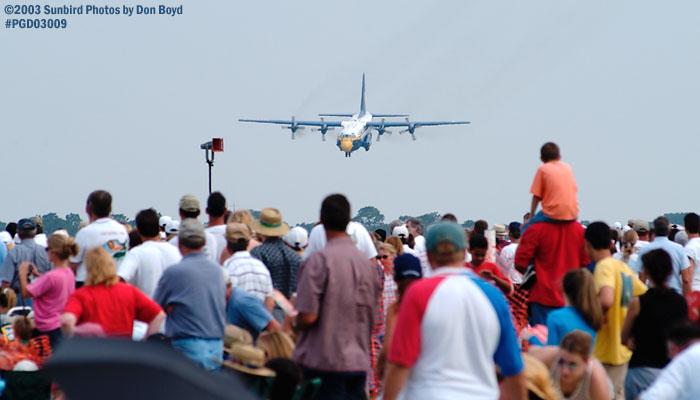 USMC Blue Angels Fat Albert (New Bert) C-130T #164763 short landing demo military aviation air show stock photo #3555