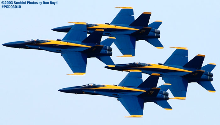 USN Blue Angels F/A-18 Hornets military aviation air show stock photo #3558