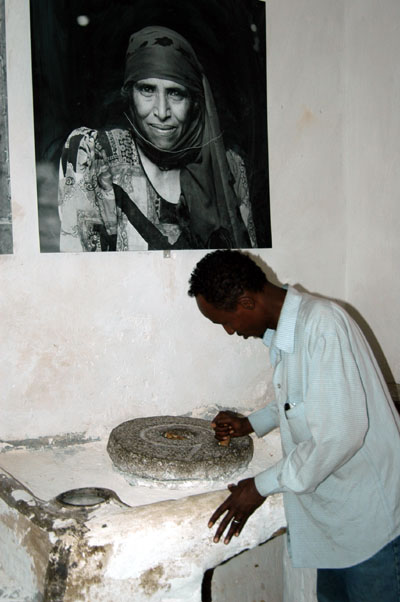 Solomon demonstrates the grinding wheel