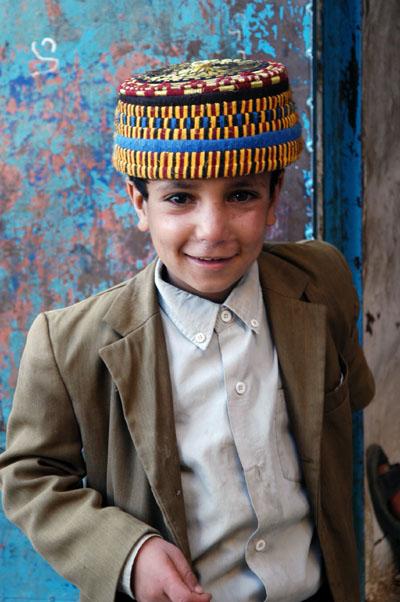 Boy with a fancy hat in Thula, Yemen