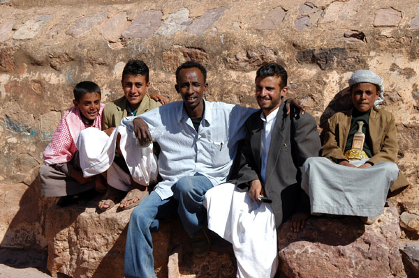 Suleiman with locals at Kawkaban