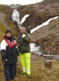 Monika (our expedition leader) & Martin at Shakleton's waterfall