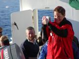Anne giving Marc, up on the bow, a thumbs up