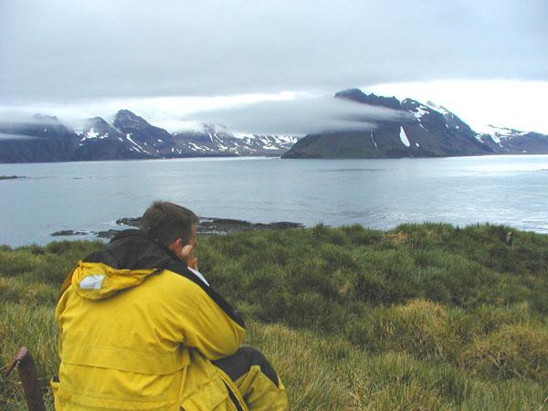 Alun, our favorite glaciologist, at Prion Island