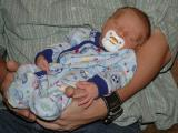 15 Days old with Uncle Matt