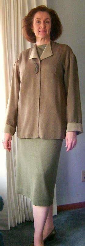 Drafted Jacket with Olive Tee & Skirt