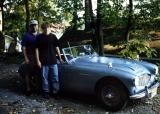 Dad and Hippie Dan with our first Austin Healey