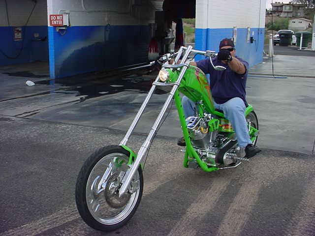 green monster <br>motorcycle at Screamers