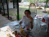 Stefano while having breakfast