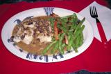 sea bass with wild mushroom sauce, beans with Canadian bacon and garlic