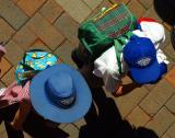 Birds eye view of school children in hats