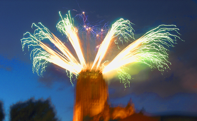 Liverpool Cathedral fireworks.