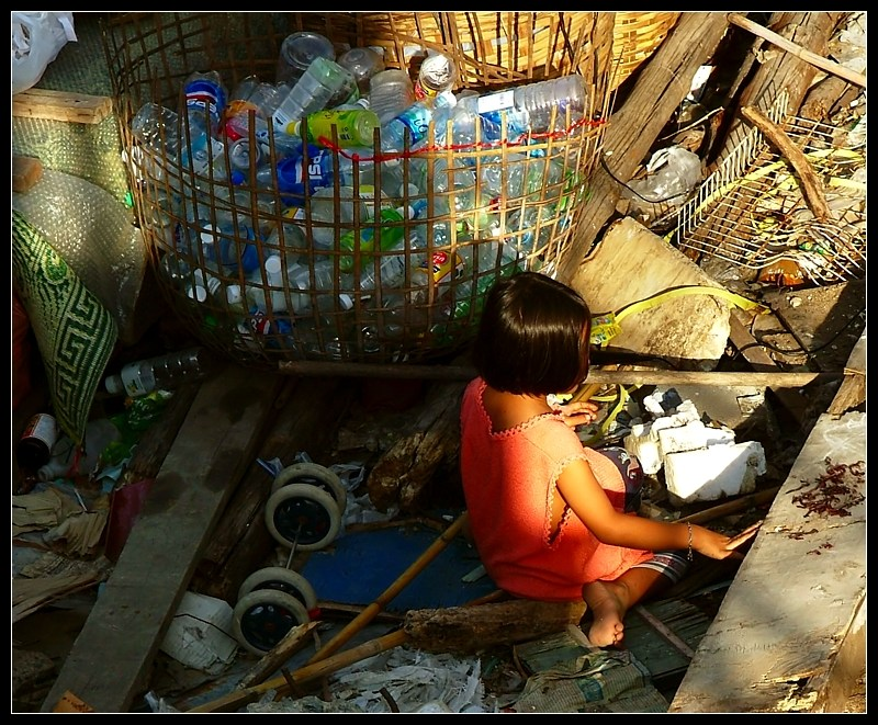 Playing in a garbage dump