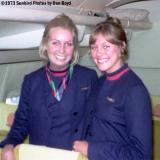 1973 - pretty United flight attendants onboard United B727