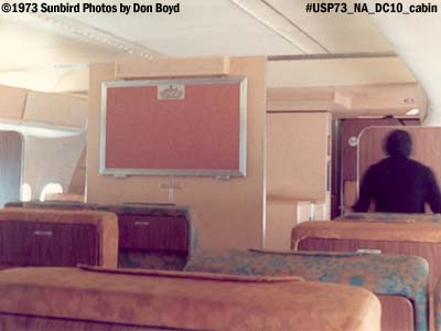 1973 - First class cabin on National Airlines DC10 aviation airline stock photo