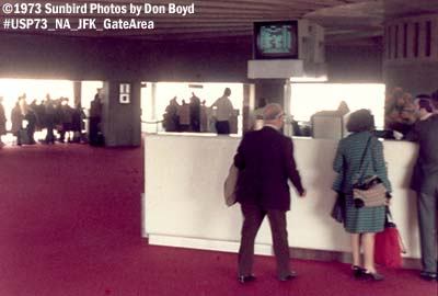 1973 - National Airlines Sundrome terminal gate area at JFK aviation airline stock photo