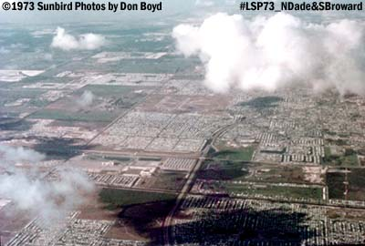 1973 - view of North Dade/South Broward and North Perry Airport aerial stock photo