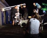 camera crew sets a night shot