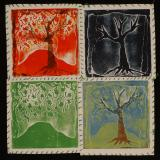 the tree of life sees many seasons (linoleum wax relief etching) 15.5 x 15.5