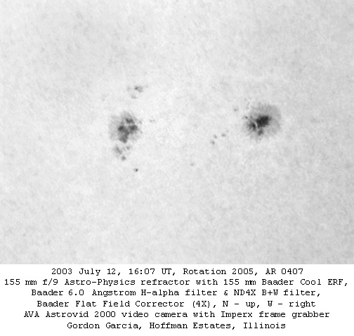 Active Region 0407 (H-alpha)