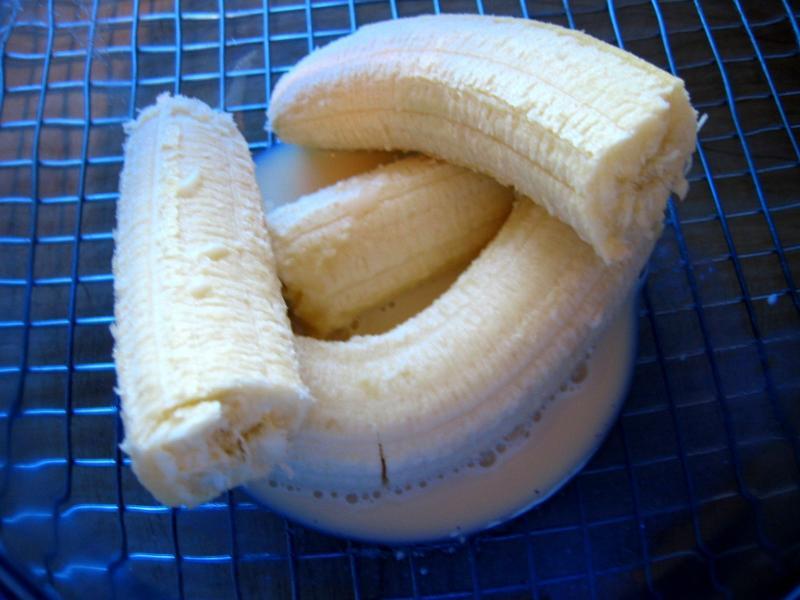 Combine bananas & milk in a bowl