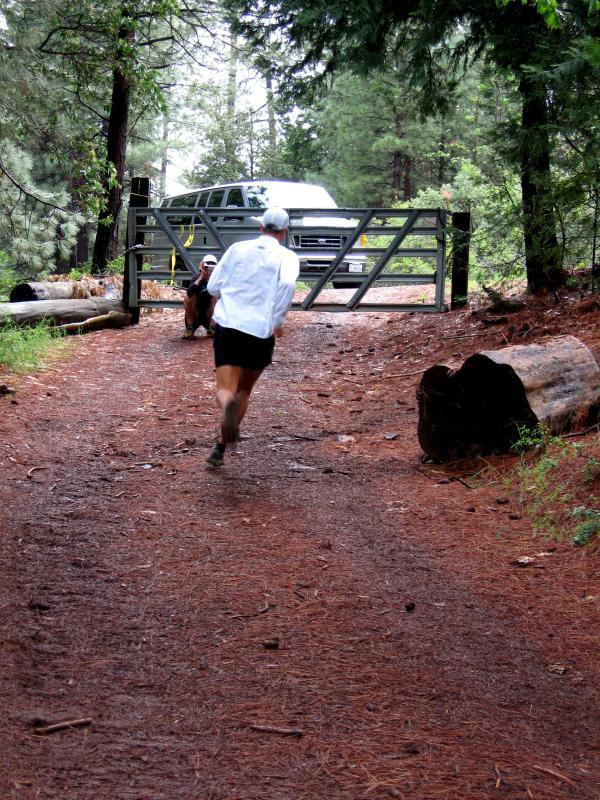 Keith running uphill