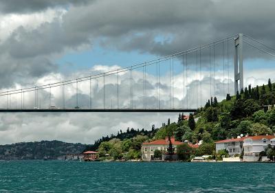 Storm clouds over the Fatih Sultan Mehmet Bridge